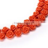 Nice Orange #44 Color Synthetic <b>Turquoise</b> Carved Rose Howlite <b>Coral</b> Flower Carving Loose Beads 20 pcs per Bag For <b>Jewelry</b> Making