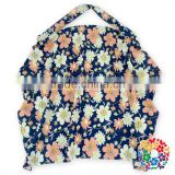 Fashion Navy Blue Floral oversize Nursing Cover with a Bag - Breastfeeding Cover with a Bag - New Mom Gift