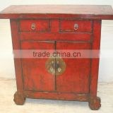 Antique Chinese Gansu Red Cabinet Two Door Two Drawer