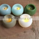 round ball shaped real wax candle led flicking cotton wick candle led candle with black cotton led candle with timer