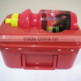 plastic lunch box with handle and water bottle