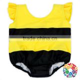 Toddler Children Lovely Bee 2Pcs Swimsuit Black And Yellow Stripe Kids Swimwear