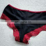 Organic boyshort underwear black red lace panties handmade lingerie