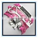 2015 new arrival hot sale best friend hot pink leather bracelet elephant charm leather bracelet leather friendship bracelet
