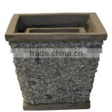 Light Concrete Pot with Stone, Set of 3.