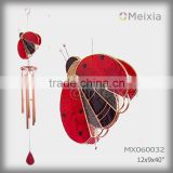 MX060032 wholesale wind chime with tiffany style stained glass ladybug craft decoration top and metal wind chime pipe