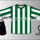 Green white stripe soccer uniforms/customized soccer mens tracksuit/ wholesale youth football uniforms