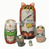 Orange Cats Pets Animals Wooden Nesting Dolls Kids Russian Dolls Matryoshka Buy Wooden Kitchen Children Toys Set 5 pc
