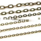 Multi Size Antique Bronze Tone Iron Flat O Chain Cross Cable Link Chain For Jewelry Diy