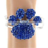 "Silvertone/Crystal Accents/2"" Paw Print * 0.5"" Band/Magnetic Closure/Lead Safe/Cuff Bracelet/ Bangle"
