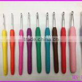 New designed high quality knitting needle 11pcs/set soft TPR grip aluminum crochet hook