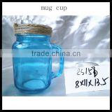 Home Water New Drinking Glass Blue Durable China Glass Cup with Handle