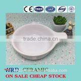 High Quality Stocked White ceramic sauce boat with handle