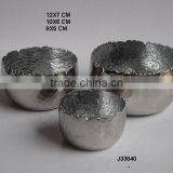 metal silver colours inside Aluminium votive with nickel finish set of 3 pcs with flame like edges can be in any colour