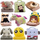 Custom Cute 2 in 1 Bear Elephant Bunny Emoji Unicorn Doll Blanket Toy Soft Animal Head Plush Baby Pillow Blanket