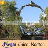Park landscape hand-carved stainless steel dolphin sculpture NTS-090L