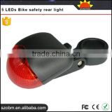 Trade Assurance Supplier Plastic 5*LEDs 3-Mode Bike Safety Back Rear Red Light
