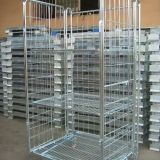 Dense Mesh Lock Wheeling Roll Cage Trolley For Warehouse
