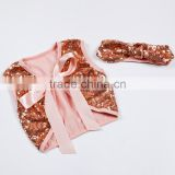 Hot Sale Girls Sequin Cotton Inside Bowknot Belt Vest Wholesale With Headband