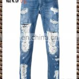 Blue cotton blends tear tight jeans wear effect detail design pants the fashionable dress of young men