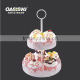 2 Tiers Round mental Birthday Cake Stand, Detachable mental Wedding Cake Display Riser, Customize mental cupcake stand