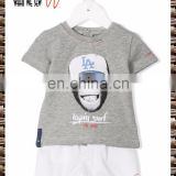 2017 summer wear high quality boy's suit grey cotton blended monkey printed t-shirts and shorts
