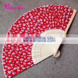 A-F01 Red real silk flower pattern hand fans