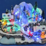 12'' LED Village scene with three movement,moving skating ,dancing people ,children playing hockey,eight songs music