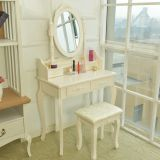 White wooden modern high quality dresser MDF <b>dressing</b> table with <b>mirror</b> drawer stool