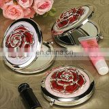 AR02 Bold Red Rose Chrome Compact Mirror Favor