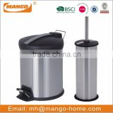 Stainless Steel Foot Pedal Trash Can and Toilet Brush Set