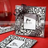 Hearts and Flourishes Black and White Glass Coaster
