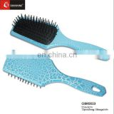 Blue color paddle brush, plastic round cushion hair brush