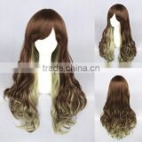 High Quality 65cm Medium Long Wave Blond&Green Mixed Lolita Synthetic Anime Wig Party Wig