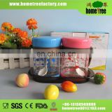 2pcs glass seasoning box with plastic lid