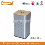 Square MDF Lid Stainless Steel Laundry Basket