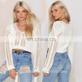 Wholesale Elegant White V-neck Crocheted sweater Cropped Sweater OEM