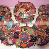 HANDMADE ROUND SEATING POUF COVER FOOT STOOL BOHEMIAN PATCHWORK OTTOMAN UNFILLED Poof Living Room Ottoman Cover wholesale Lot