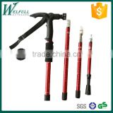 Telescope walking stick with flashlight 5 LED, Aluminum 6061, 4 sections, SZ19001