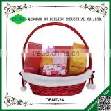 Hand woven red wicker gift basket for christmas