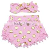 Wholesale sweat pink shorts with gold dot and pink pom pom headband gor children