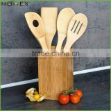 Bamboo Spoon Holder with Four Utensils/Kitchen Spoon Rest Organizer/Homex_FSC/BSCI Factory