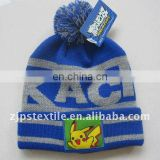 Jacquard beanie for children with lovely pompon and embroidery