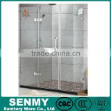 China supplier stainless steel bath towel bathroom doors frameless hinge 3 panel glass shower screen for bath tub