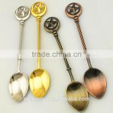 star handle vintage palm tree coffee spoon /hy zinc alloy creative desserspoon and fork /fancy ice cream spoon tableware