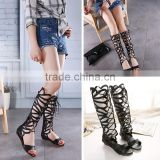 B13349A hot sale woman sexi bandage knee high boosting sandals boot