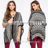 hot-selling black and white split sides fleece blanket poncho sweater wrap cardigan women