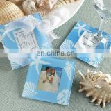 Blue Seashell Glass Photo Coasters