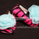 Hot Pink Zebra Shoes with Light Blue Rosettes Pettishoes Crib Shoes MAS24