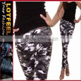 Designer black camo low cut pants women denim skinny jeans(LOTX016)